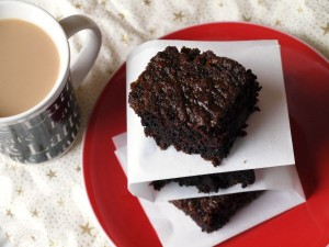 Chocolate Chip Zucchini Brownies with Coffee