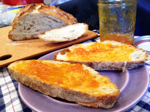 Bread with apricot jam