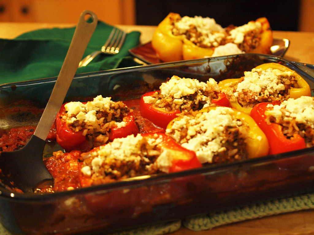 Stuffed Red and Yellow Bell Peppers