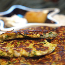 Zucchini Fritters with sour cream and applesauce